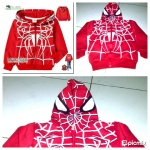jaket anak karakter spiderman red tebal